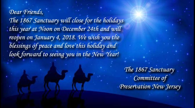 <b>Sanctuary Closes at Noon, Sunday, December 24</b><br>Reopens Thursday, January 4, 2018